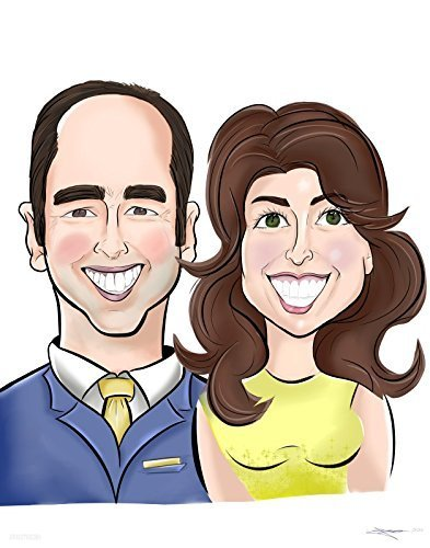 Custom Couple Head Caricatures Unique Personalized Drawing Handmade Wedding, Anniversary Gift with Background Theme. by Juno Art & Design