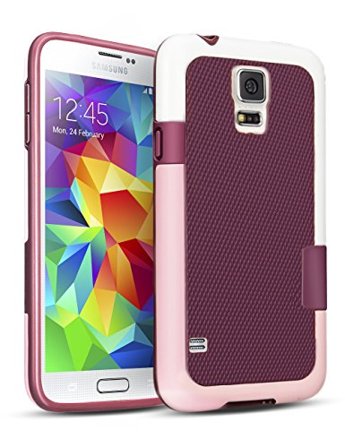 TILL Galaxy S5 Case, (TM) Hybrid Impact 3 Color Rugged Case, Soft PC Bumper + Soft TPU Back Shockproof Protective Slim Cover Shell for Samsung Galaxy S5 I9600 GS5 G900V(White, Pink & Red) ()