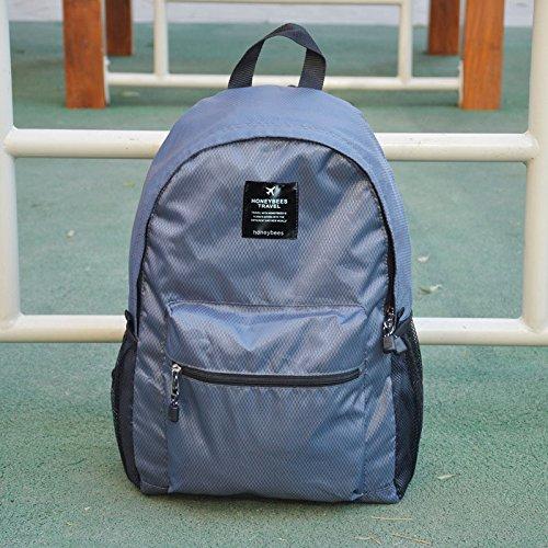 LWJgsa Plegable Bolsa De Hombro Hombres Y Mujeres Mochila Senderismo Bolsa Luz Dinero Viajar Portatil Bolsa De Almacenamiento Lago Azul Gray