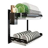 Kitchen Dish Rack Hanging Drying Plate Organizer Storage Shelf over the Sink,Junyuan 2 Tier Wall Mount Bowl Holder with Drain Tray With 3 Hooks,Stainless Steel Black Coating (2 Tier, 16)