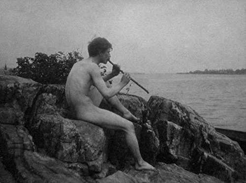 Nude Man Playing His Flute Photograph Collectible Art Print, Wall Decor Travel Poster