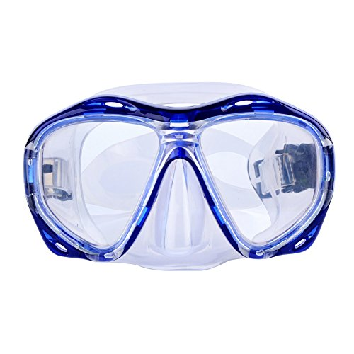 (Morgiana Unisex Swimming Mask Goggle with Anti-Fog and UV Protection Lenses - Blue)