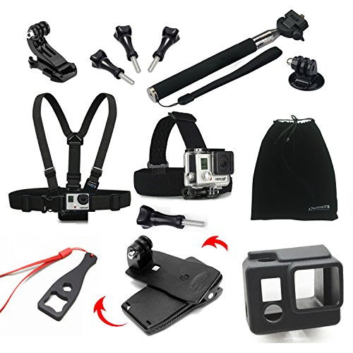 Oumers Accessories kit, 13 in 1 Accessories bundle Telescoping Handheld Monopod + Chest Harness / Strap + Head Strap Mount + Backpack Clamp + Silicone Housing Case + Wrench Nut Screw Spanner + Soft Bag + J Hook, 13pcs Accessories Set / Accessory Bundles For GoPro Hero HD, Hero 4 Silver Black, Hero 3+, Hero 3, Hero 2, Hero 1, GoPro Camera Accessories