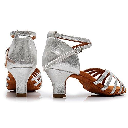 213 Tanzschuhe Ballsaal Latin HROYL 5cm Dance Schuhe Modell Satin Damen Silber LP ASqw5qz