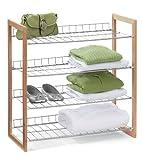 Honey-Can-Do SHO-01384 4-Tier Closet Accessory Shelf, Wood Frame