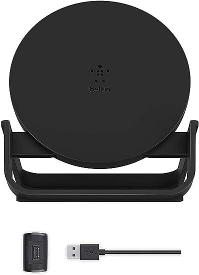 Belkin ワイヤレス充電器 Qi認証 iPhone 12 Pro / 12 / SE / 11 / XR対応 5W 7.5W 10W 出力 充電スタンド ACアダプター付き ブラック F7U083JCBLK-A