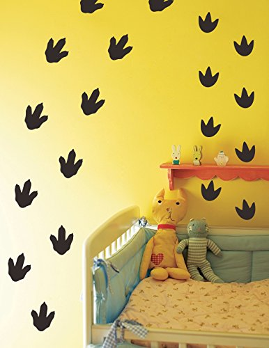 Mozamy Creative Dinosaur Footprints Wall Decals (32 Count) Dinosaur Wall Decals Dinosaur Tracks Decals Removable Peel and Stick Wall Decals, Matte Black -
