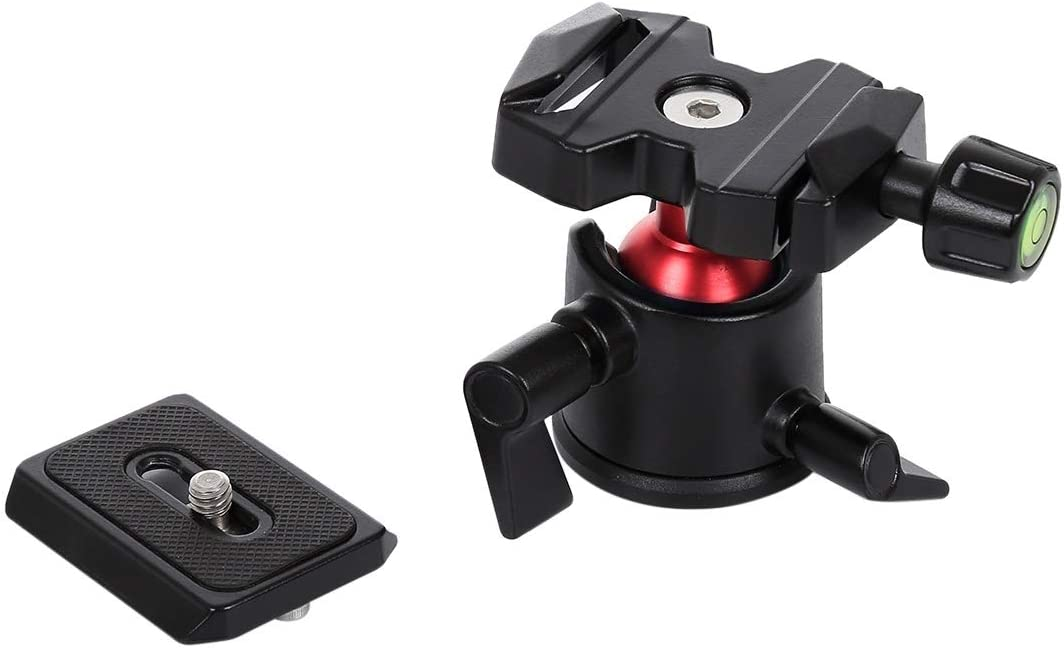 Color : Black Ychaoya Camera Stand 360 Degree Rotation Panoramic Alloy Ball Head with Flying Release Plate for DSLR /& Digital Cameras Black