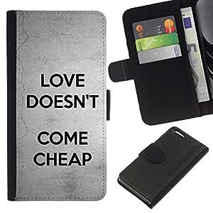 Planetar® Modelo colorido cuero carpeta tirón caso cubierta piel Holster Funda protección Para Apple iPhone 5C ( El amor no viene Texto barato Gris Negro )