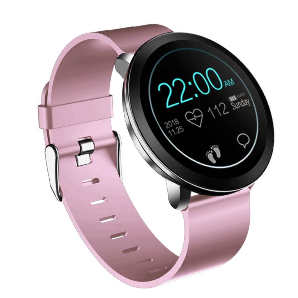 For iOS Android, Color Screen Waterproof Sport Smart Watch Fitness Blood Pressure Heart Rate Monitor Smart Bracelet (Pink)