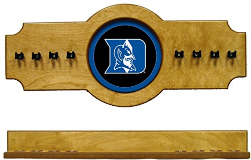 - NCAA Duke Blue Devils DUKCRR500-O 2 pc Hanging Wall Pool Cue Stick Holder Rack - Oak
