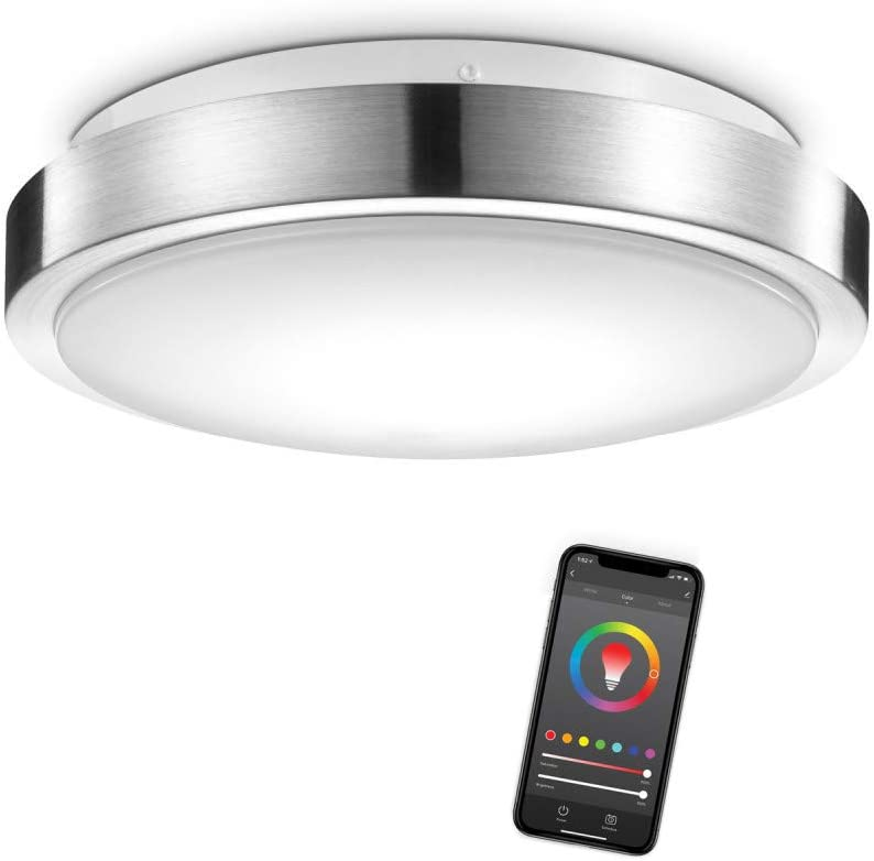 "Globe Electric Globe Smart Collection 60839 Wi-Fi 11"" Flush Mount, Brushed Nickel, No Hub Required, 16W, Multicolor, 2000K-5000K, 900 lm, 80 CRI, Silver"
