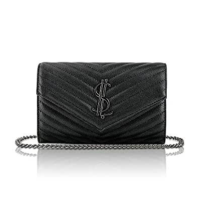 Designer Leather Crossbody Bags for Women Classic Qulited Shoulder Bag with Metal Chain Womens Stylish Clutch Purses (Black-V)