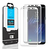 SOJITEK Samsung Galaxy S8 Screen Protector, 2 Pack, Full Coverage 3D Tempered Glass (Sticks well to sides / No Loss of adhesive) - White