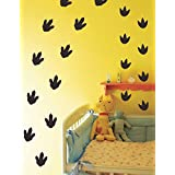 MozamyCreative Dinosaur Footprint Wall Decals (32 Count) Nursery Decals Removable Peel and Stick Wall Decals, Black
