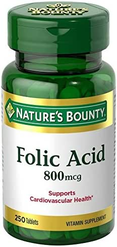 Nature's Bounty Folic Acid 800 mcg Tablets Maximum Strength 250 ea