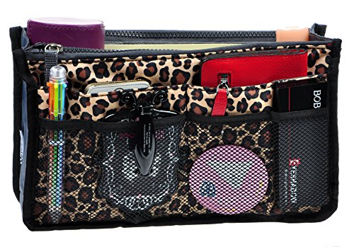 - Purse Organizer,Insert Handbag Organizer Bag in Bag (13 Pockets 15 Colors 3 Size) (L, Leopard)