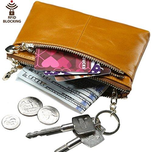 Leather Womens Mini Tan (Itslife RFID BLOCKING Triple Zipper Leather Mini Coin Purse Card Holder with Key Chain (2-TAN))