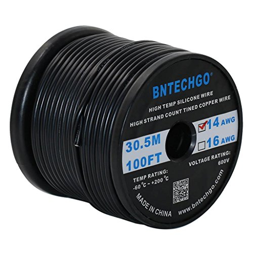 14 Awg Wire Silicone (BNTECHGO 14 Gauge Silicone Wire Spool Black 100 feet Ultra Flexible High Temp 200 deg C 600V 14AWG Silicone Rubber Wire 400 Strands of Tinned Copper Wire Stranded Wire for Model Battery Low Impedance)