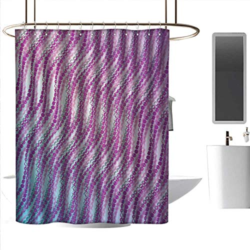 J Chief Sky Shower Curtain Rings Modern,Abstract Design with Bubble Like Wavy Circled Lines Absured Design Art Print,Purple and White 3D Printing Bath Curtain W48 x L84 Inch