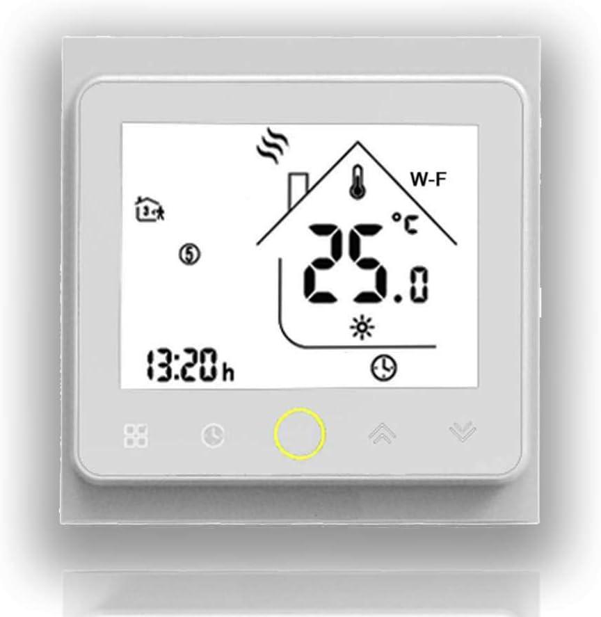 BECA 002 Serie 3 / 16A Pantalla táctil LCD Agua/Calefacción eléctrica/Caldera Termostato de control de programación inteligente con conexión WIFI (Calefacción eléctrica, Blanco completo)
