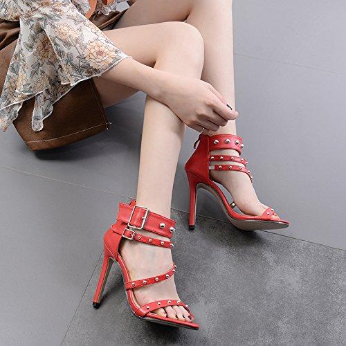 scarpe sandali Rivetto black ad singolo romano sandali donna con alto ZHZNVX sandali rivetti calzature tacco tacco alta 1ww06q