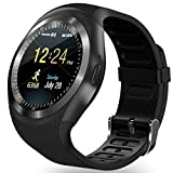 AMENON Bluetooth Smart Watch Wristwatch,Classical IPS Round Touch Screen Water Resistant Smartwatch Cellphone with SIM TF Card Slot Pedometer Fitness Tracker for Android Smart Phones (black)