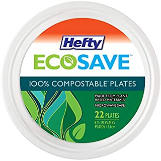 Hefty EcoSave Round 100% Compostable Paper Plates, 22 Count