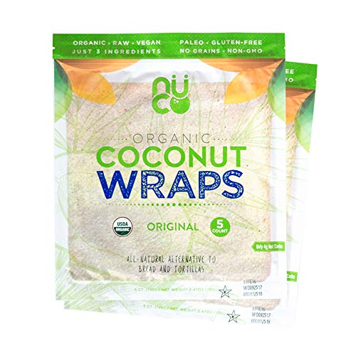 (NUCO DUO Certified Organic, All Natural, Paleo, Gluten Free, Vegan Non-GMO, Kosher Raw Veggie NUCO Coconut Wraps. NO Salt Added Low Carb and Yeast Free 10 Count Various Quantities)