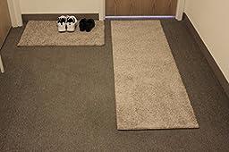 2 Piece Set - Carpet Door Mat & Rug Runner - 25 Oz Frieze TAFFY APPLE BEIGE - Consists of 1-2\'x3\' Mat & 1 Runner (Choose your size from: 6\', 8\', 10\', 12\' and 14\') (1 - Mat 2\'x3\' / Runner 2\'x10\')