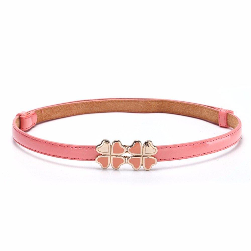 SAIBANGZI Ms Women All Seasons Belt Fashion Candy Color Fine Decorative Narrow Belt Girlfriend Present Pink 92Cm