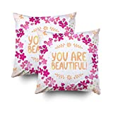 GROOTEY Decorative Cotton Square Set of 2 Pillow Case Covers Zippered Closing Home Sofa Decor Size 18X18Inch Costom Pillowcse Throw Cover Cushion,Stylish beautiful floral wreath