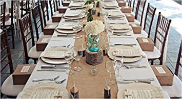 Burlap Table Runners: Rustic Weddings Or Events 120x12 Inch Jute Burlap  Table Runner For Country