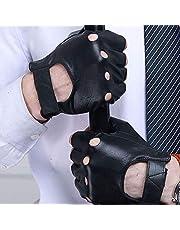 Atrumly Sport Handschoenen,1 paar Mens Faux Lederen Handschoenen Fitness Vingerloze Handschoenen Halve Vinger Handschoenen Fiets Rijden Handschoenen Echt Lederen Fietsen Gym Rijden Wiel Stoel Handschoenen
