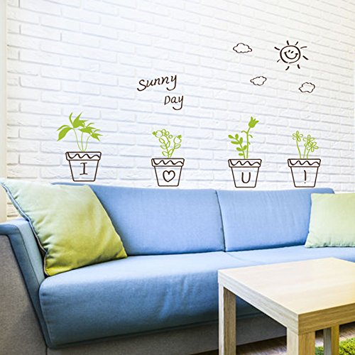 ASIBG Home Green Plants Wall Stickers Bedrooms Living Rooms Wall Paper Self-Adhesive Decorations Glass Windows Potted Plants 65×40Cm