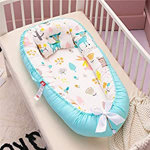 Bassinet Baby Lounger Baby Nest Portable Baby Bassinet Super Soft Co-Sleeping Baby Bed - 100% Cotton Breathable & Hypoallergenic Portable Crib for Bedroom/Travel(Blue Rabbit Elk)