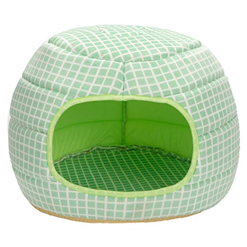 Hollypet 16″×16″×12.5″ Self-Warming 2-in-1 Foldable Cave Shape High Elastic Foam Pet Cat Bed for Cats and Small Dogs, Green