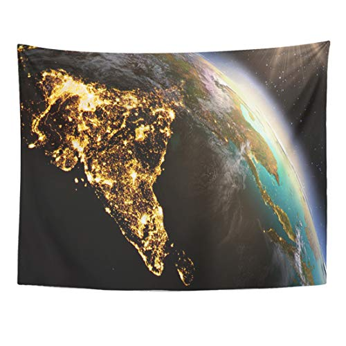 (Emvency Tapestry 80 x 60 Inches Green India Planet Earth Asia Zone of This by NASA Blue Globe Satellite Map Space Night Growth Wall Hanging Art Home Decor Tapestries for)