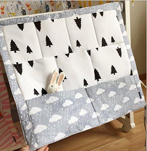 FS Baby Crib Nursery Diaper Bag Storage Stacker Hanging Organizer With 9 Pockets Baby Room Decor (White)