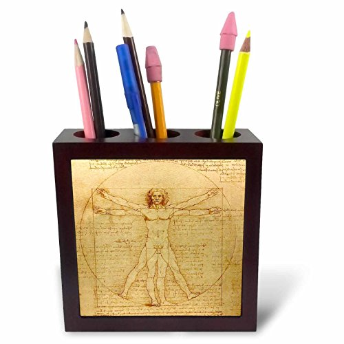 Fine Art Ceramic Tile (3dRose ph_155633_1 Vitruvian Man by Leonardo Da Vinci 1490-Fine Anatomical Art-Human Anatomy Pen and Ink Drawing-Tile Pen Holder, 5-Inch)