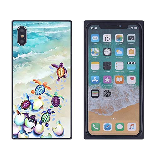 Watercolor Sea Turtle iPhone Xs Max Case, Soft Flexible TPU Back Cover Rectangle Case Compatible with iPhone Xs Max (Black)