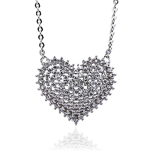 NickAngelo's Heart Pendant Necklace Elegant Cubic Zirconia Fashion Jewelry for (Gold Logo 0.75' Pendant)
