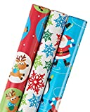 American Greetings Christmas Wrapping Paper, 3-Roll, 102 Total Sq. Ft.