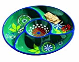 Tag Azure 12-1/2-Inch Hand-Painted Earthenware Chip And Dip Server, Blue