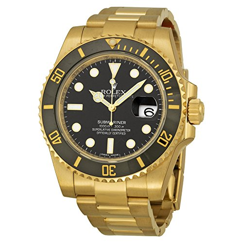Rolex Submariner Black Index Dial Oyster Bracelet 18kt Yellow Gold Mens Watch 116618BKSO