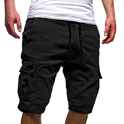 Ninasill Hot!Men's tethered Tooling Shorts Solid Color Elastic Waist with Pocket Sports Shorts Large Size Beach Shorts: Clothing