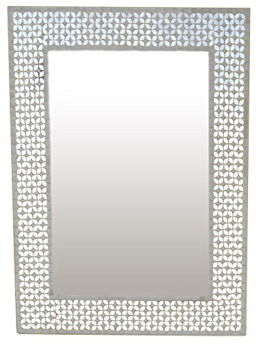 "Lulu Decor, Frosty Silver Rectangle Mosaic Wall Mirror, Decorative Handmade Mirror, 31"" x 23.50"" Perfect for Housewarming Gift. (LP306)"