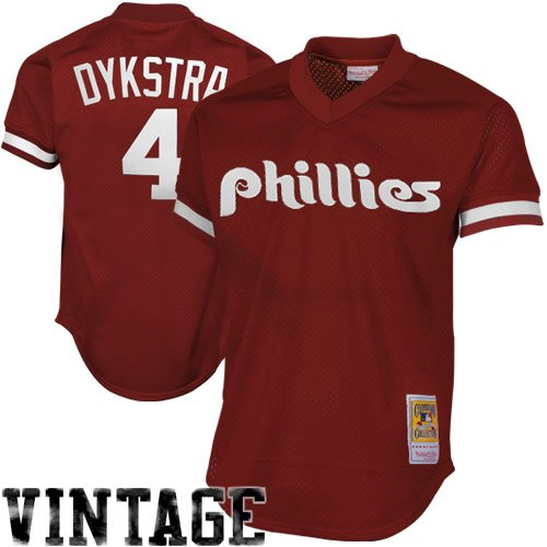 - Mitchell & Ness Philadelphia Phillies Lenny Dykstra 1991 Cooperstown Maroon Authentic Practice Jersey (X-Large)