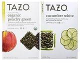 Tazo Flavored White and Green Tea 2 Flavor Variety Bundle; (1) Tazo Organic Peachy Green Tea (1) Tazo Cucumber White Tea, 1.2-1.4 Oz. Ea.