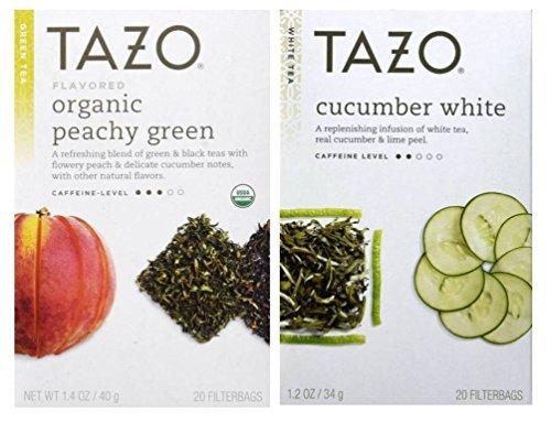 Tazo Flavored White and Green Tea 2 Flavor Variety Bundle; (1) Tazo Organic Peachy Green Tea (1) Tazo Cucumber White Tea, 1.2-1.4 Oz. Ea. by TAZO